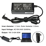 CANRY 65W 19V 3.42A Computer Power Adapter Charger For Acer Chromebook 15 14 13 11 R11 CB3 CB5-571 CB5-311 C720 C720p C740 Aspire P3 S7 S5 Iconia W700 for Acer Aspire One Cloudbook AO1-131 AO1-431 (NO