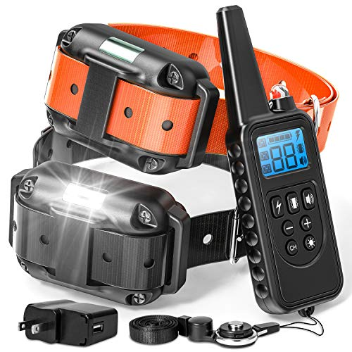 Dog Training Collar with Remote, 2018 Upgraded Range 865 Yards Shock Collar for Large Medium Small Dogs with Light Beep Vibration Shock, Waterproof and Rechargeable Dog Shock Collar for 2 dogs Review