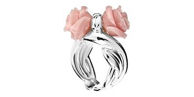 Rose Haylland Bague fleur César en argent 925, résine, rose, 8.9g ... 56c8989cf675