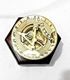 Royal Victorian Export 3'' Captain Brass Sundial Compass with Hardwood Wooden Box (Design 1)