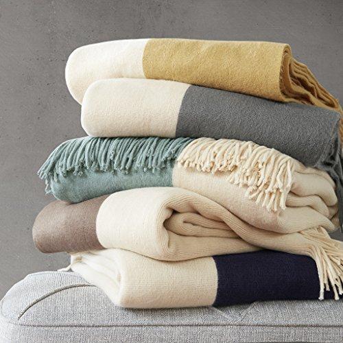 60u0022x50u0022 Color Block Faux Cashmere Throw Blanket Aqua
