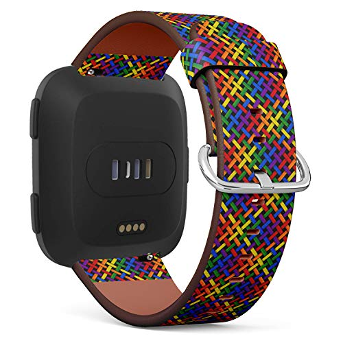 Rainbow Texture with Diagonal Stripes Pattern - Patterned Leather Wristband Strap Compatible with Fitbit ()