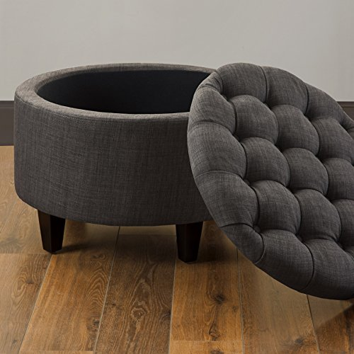 Round Storage Tray Ottoman (Storage Cocktail Ottoman Footstool Padded Seating Chair Coffee Table Espresso Wood Finish)