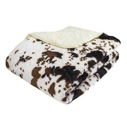 Cow Print Pattern - Cozy Fleece LLC Oversized Luxury Mink Animal Print Throw with Sherpa Back, Cow Splash