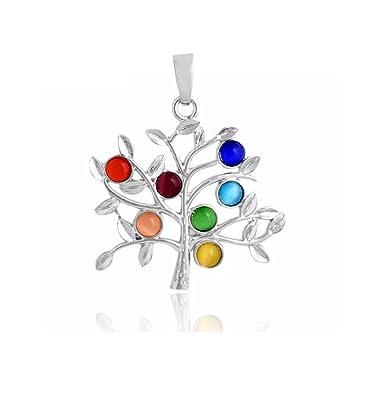 Swarovski Crystal Elements 7 Chakra Healing Stones Eternal Pendant Necklace by Designer Inspired 78dMZx