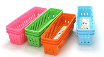 Ordinaire Mini Plastic Storage Trays Baskets, 4 Color (12 Pack)