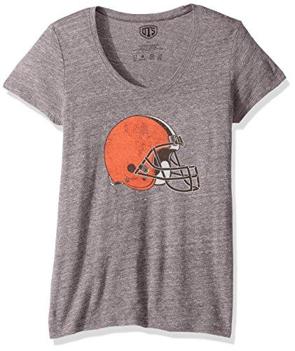 Cleveland Browns Soft Football - OTS NFL Cleveland Browns Women's Triblend Scoop Distressed Tee, Medium, Vintage Grey
