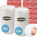 """2 Pack of Mighty Gadget Brand Bubble Cushioning Wrap Roll for Packing Moving Shipping Supplies (2 Pack, 3/16"""", Total: 12"""" x 60 ft +20 Fragile Sticker Labels Included"""