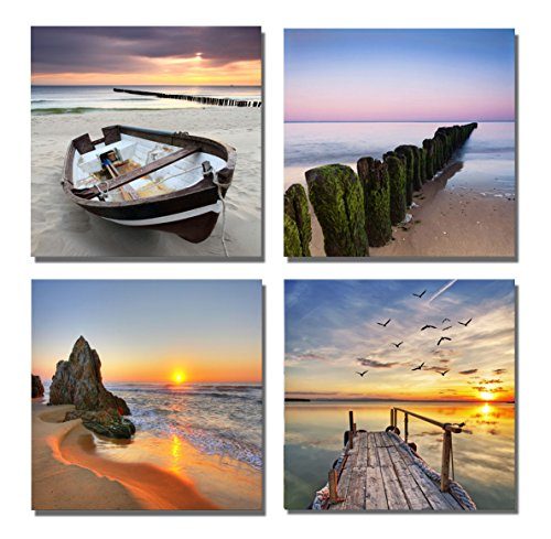 Yang Hong Yu - Canvas Prints Seaside Sunset Pictures on Canvas Wall Art Stretched and Framed Modern Decor Paintings Giclee Artwork for Home Decoration 12x12inch Framed Art Sets