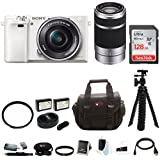 Sony Alpha a6000 Mirrorless Camera (White) w/16-50mm & 55-210mm Lens (Silver) and 128GB SD Card Bundle