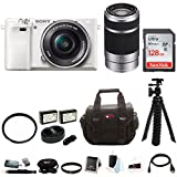 Sony Alpha a6000 Mirrorless Camera (White) w/ 16-50mm & 55-210mm Lens (Silver) and 64GB SD Card Bundle