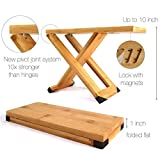FOX & FERN Guitar Foot Stool - Professional Bamboo Wood Footrest - Magnets to Fix Position - Adjustable Footstool from 5' up to 10'