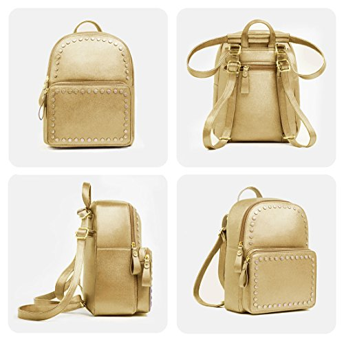 Women Backpack borsa per Leather for Elegante Gold bambine Fashion quadrata Beariky Bag qgwUt7xq