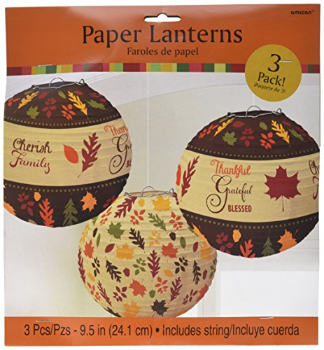 Colors of Fall Thanksgiving Party Round Autumn Lanterns Decoration, Paper, 9