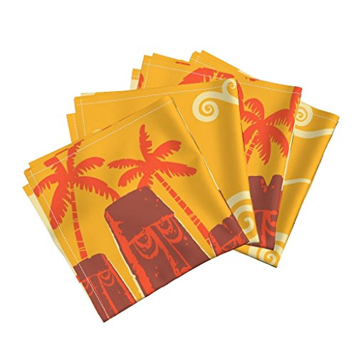 Roostery Tiki Linen Cotton Dinner Napkins Beached Idols by Vantiki Set of 4 Cotton Dinner Napkins Made -