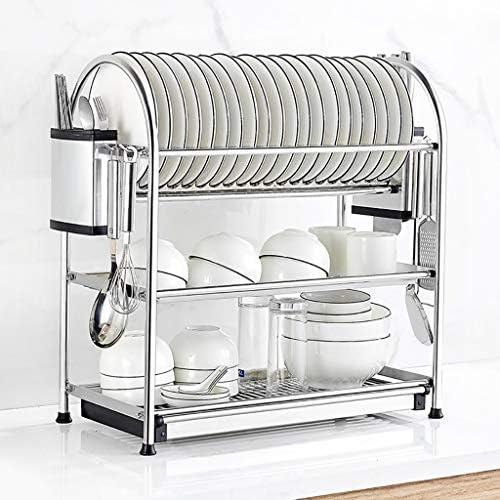 水切りラック 食器乾燥ラック、304ステンレス鋼3層食器棚、水切りボードとナイフラック、キッチンカウンタートップ用の防錆食器水切り器、シルバー (Size : 45cm×27cm×57cm)