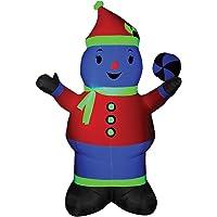7' Tall Neon Airblown Snowman Christmas Prop