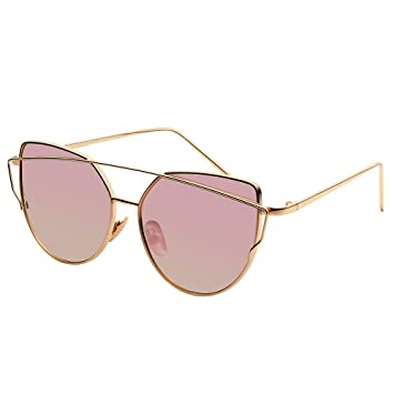839bf86a312 GoodPro Women Sunglasses Cat Eye Mirrored Flat Lenses Metal Frame Fashion Sunglasses  for Women GP204W (