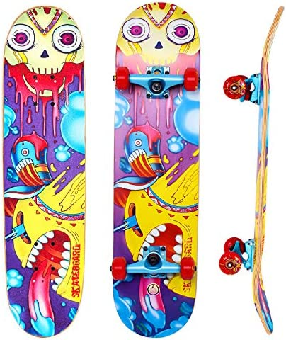 IMITOR Complete Skateboards for Beginners Standard Skateboard Cruiser 31 x 8 8 Layer Canadian Maple Wood Double Kick Concave Skate Board for Boys Girls Kids Youths Adults