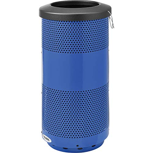 (Global Industrial 20 Gallon Perforated Steel Receptacle with Flat Lid, Blue, Lot of)