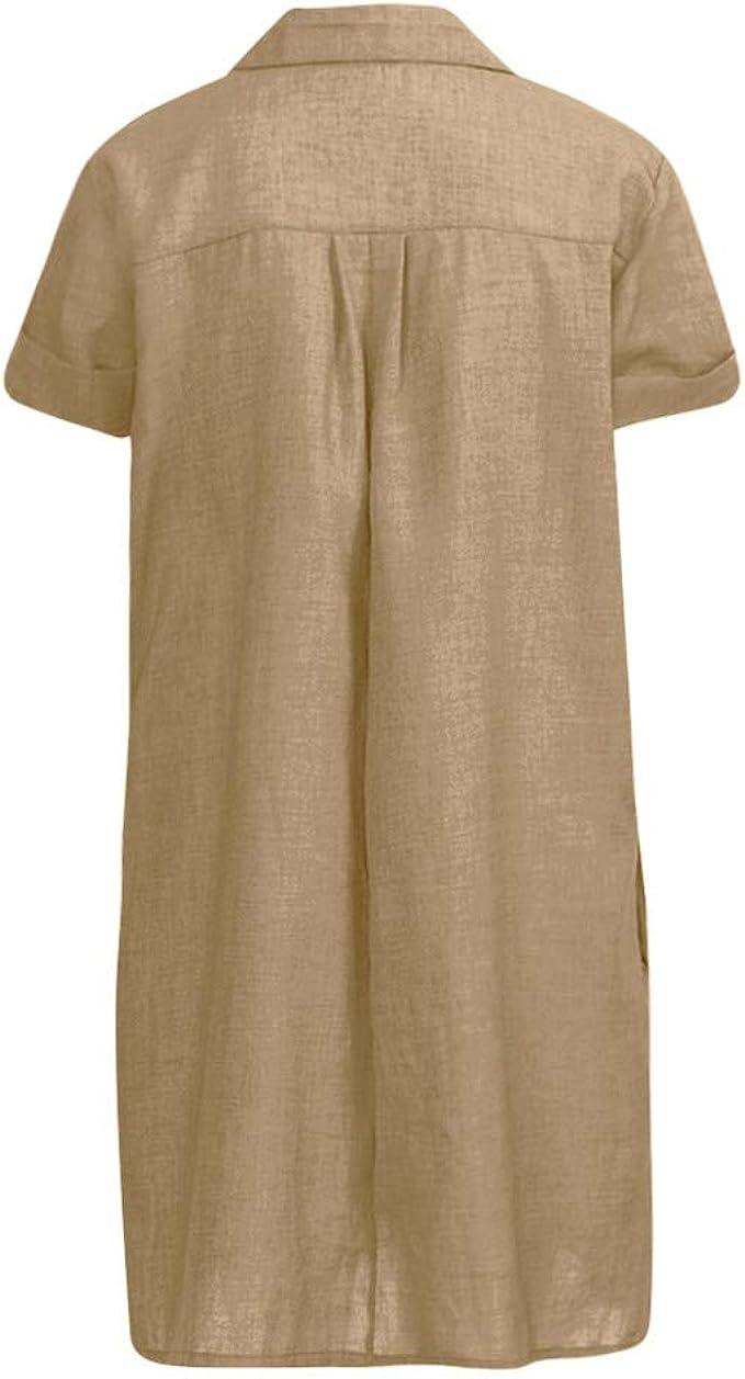 BUKINIE Robe D/éT/é pour Femmes Grande Taille Tunique Robe D/éT/é D/éContract/éE Manches Courtes Loose Fit Seaside Robe De Plage avec Poches