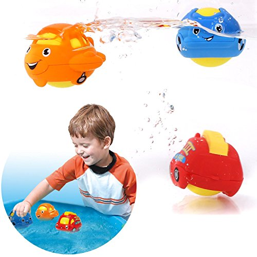 Bath Toys Peradix 3 Pack Assorted Baby Toys, 3 in 1 Function as Rattle/ Rolling Toys/Baby Bath Water Toys for Toddlers (Net Storage Bag)