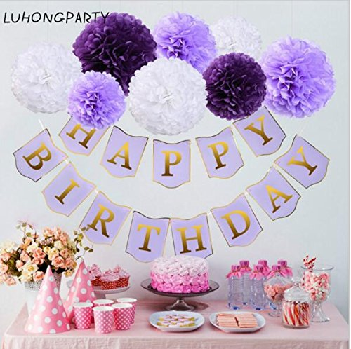Sopeace 17 PCS 8'' 10'' Lavender Purple Pink White Tissue Paper Pom Pom Flowers and Paper Lanterns Party Decoration by Sopeace (Image #5)