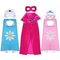 3 princesa de superhéroe para niñas, conjunto de capas y máscaras Anna Elsa Aurora disfraz de satén con capas de máscara de fieltro para niños