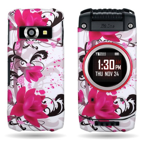 Lily Cell Phone Snap (CoverON Purple Lily / Red Flower Hard Slim Case for Casio G'zOne Ravine 2 - with Cover Removal Pry Tool)
