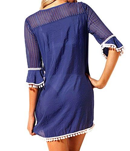 Sommer Damen Slim Minikleid mit Kleiner Haarball Elegant Spitzen ...