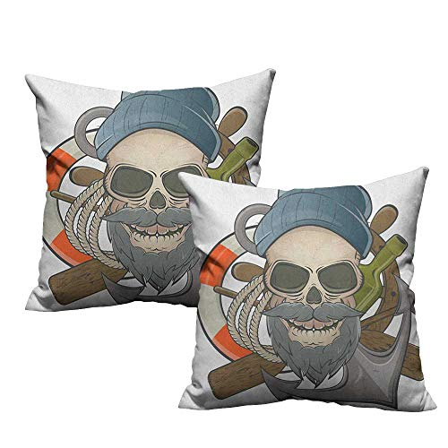 RuppertTextile Couple Pillowcase Skull Illustration of Sailor Old Skull with Beard Mascot Nautical Theme Skeleton Lifebuoy Suitable for Hair and Skin Health W24 xL24 2 -