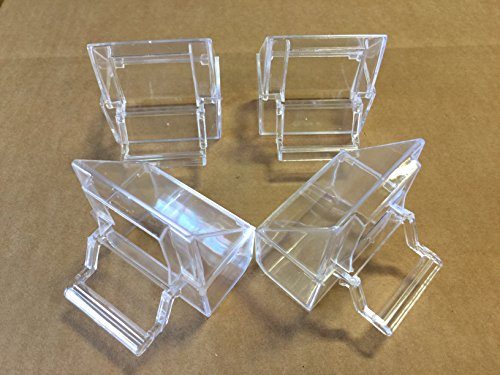 Lot of 4 Bird Cage Clear Plastic Seed Water Feeder Hood Cups
