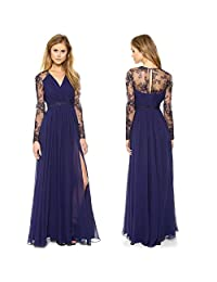 FOREVER YUNG Sexy Women V Neck Evening Party Ball Prom Gown Formal Bridesmaids Cocktail Full Dress M