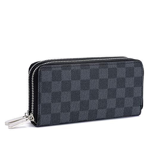 Women's Checkered 2 Zip Around Long Wallet and Phone Clutch - RFID Blocking with Card Holder Organizer (Black) ()