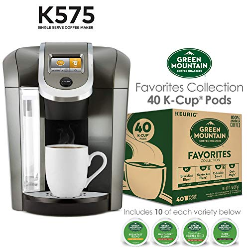 Keurig K575 Single Serve K-Cup Pod Coffee Maker, Platinum and Green Mountain Coffee Roasters Favorites Collection, 40 Count (Ships Separately)