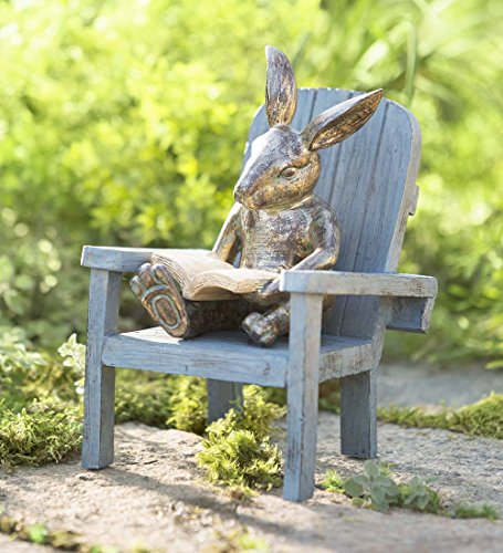 - Reading Rabbit Outdooor Yard and Garden Resin Animal Statue 5¾ L x 6 W x 9¼ H