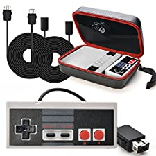 AGPtek® Carring Bag + Controller Gamepad + 2pc*9.84Ft Extension Cables For Nintendo Mini NES Classic Edition