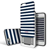 DesignSkin Slider iPhone 6s / 6 Case with Sliding Card Slot Extreme Heavy Duty Bumper Protection with Card Holder 3-Layer Wallet Case Cover for iPhone 6s (2015) / iPhone 6 (2014) - Blue Stripe