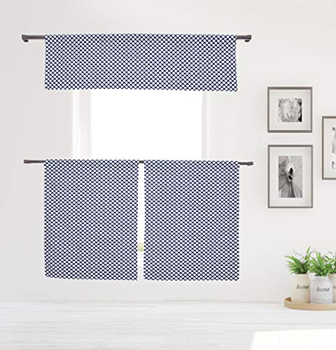 (Vera Neumann Medici Geomtric Print Curtain Valance Set for Small Kitchen Window, Cafe, Bath, Laundry or Bedroom, 58 X 15 Inch, Navy)