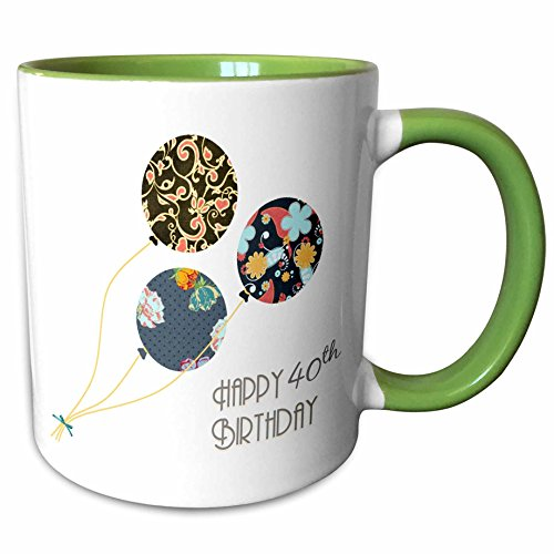 3dRose InspirationzStore Occasions - Happy 40th Birthday - Modern stylish floral Balloons. Elegant black brown blue 40 year old Bday - 11oz Two-Tone Green Mug (mug_161981_7)