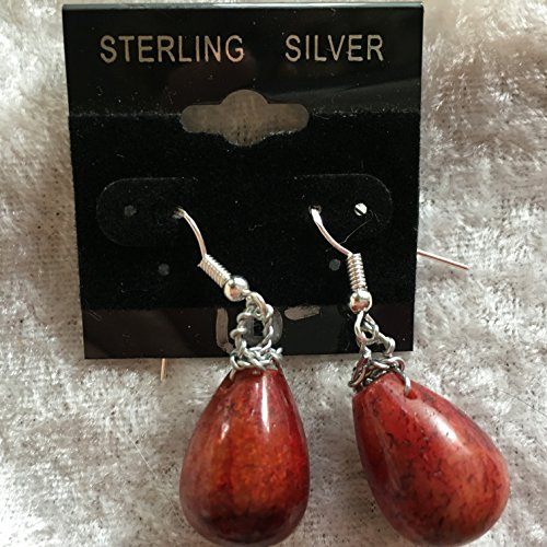 natural red jasper gemstone teardrops dangle sterling silver earrings