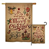 Ornament Collection S191081-BO Merry Christmas and Happy New Year Winter Christmas Impressions Decorative Vertical House 28″ X 40″ Garden 13″ X 18.5″ Double Sided Flags Set Printed in USA Multi-Color For Sale