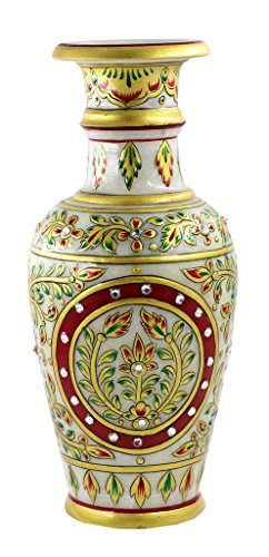 Set Of 1 Pcs Marble Vase Gold Embossed Meenakari Kundan Work Gift for Any Occasion Gift -By Style Souk (13 Nights Of Halloween 2017 Codes)