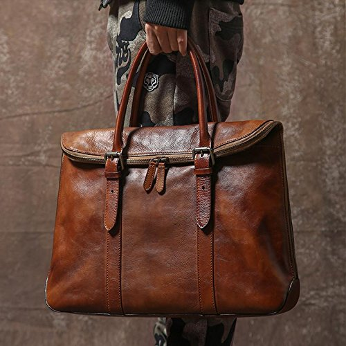 Handmade Vintage Genuine Leather Business Briefcase Men's Messenger Bag 14'' Laptop Bag