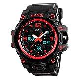 SKMEI Reloj Digital dual time Deportivo Militar Para hombre Resistente al agua. Cronómetro, Alarma, fecha y Retroiluminación. Caja Grande (Rojo)