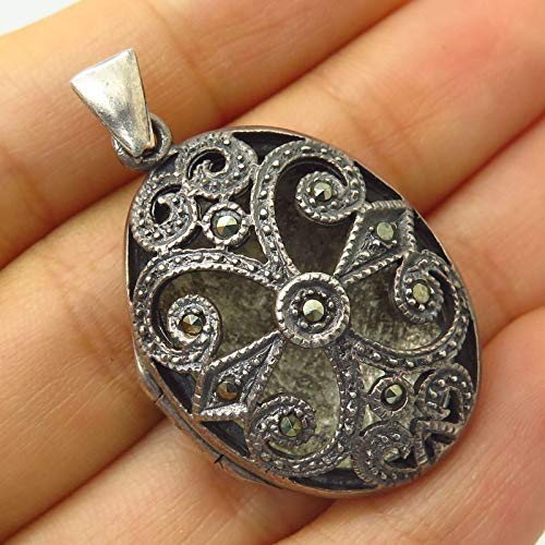 - VTG 925 Sterling Silver Real Marcasite Gem Cut Out Design Locket Pendant Jewelry Making Supply by Wholesale Charms