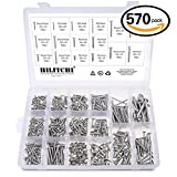 Hilitchi 570 Piece M 3 4 5 6 Stainless Steel Phillips Round Flat Head Self Tapping Screw Assortment Kit