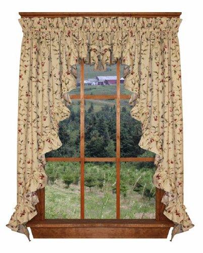 Amazon.com: Cherry Blossoms Print Ruffle Filler Valance Curtain 44 ...