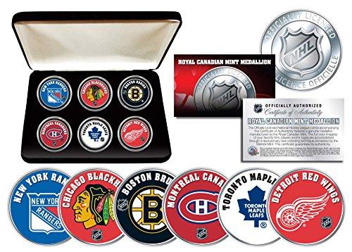 (NHL ORIGINAL SIX TEAMS Royal Canadian Mint Medallions 6-Coin Set w/Display Box)