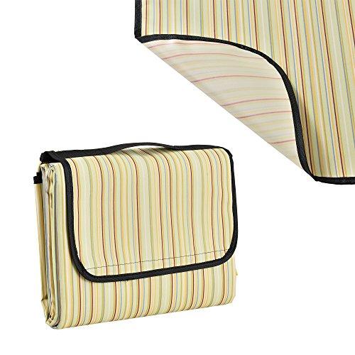 [casa.pro]® Couverture de pique-nique - 200x190cm - avec Poignée (jaune rayé)